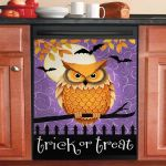 Owl Trick Or Treat Dishwasher Cover Sticker Kitchen Decor