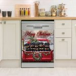 Rottweiler Christmas On Red Truck Dishwasher Cover Sticker Kitchen Decor