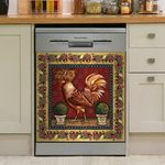 Rooster Chicken Golden Pattern Dishwasher Cover Sticker Kitchen Decor