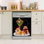 Pomeranian Christmas Cross Dishwasher Cover Sticker Kitchen Decor