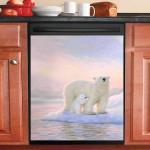 Polar Bear Mom Dishwasher Cover Sticker Kitchen Decor