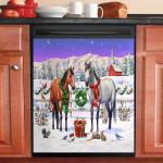Peaceful Christmas Horses Lover Winter Farm Dishwasher Cover Sticker Kitchen Decor