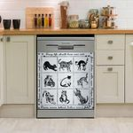 Nine Cats Black And White Dishwasher Cover Sticker Kitchen Decor