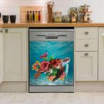 Sea Turtle Colorful Flower Dishwasher Cover Sticker Kitchen Decor