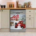 Scottish Terrier And Snowman Pattern Dishwasher Cover Sticker Kitchen Decor