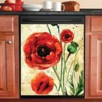 Pretty Red Poppies Dishwasher Cover Sticker Kitchen Decor