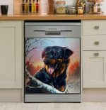 Love Dog Bare Tree Dishwasher Cover Sticker Kitchen Decor