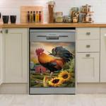 Rooster Sunflower Sunrise Farmland Dishwasher Cover Sticker Kitchen Decor