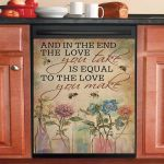 Love Equal Bee And Flower Dishwasher Cover Sticker Kitchen Decor