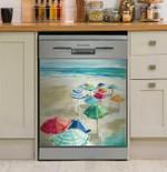 Multicolor Umbrella Beach Dishwasher Cover Sticker Kitchen Decor