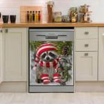 Raccoon Under Pine Dishwasher Cover Sticker Kitchen Decor