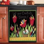 School Tulips Dishwasher Cover Sticker Kitchen Decor