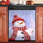 Little Christmas Snowman Dishwasher Cover Sticker Kitchen Decor