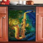 Saxophone Vintage Dishwasher Cover Sticker Kitchen Decor