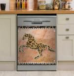 Running Horse And Leopard Skin Leaf Pattern Dishwasher Cover Sticker Kitchen Decor