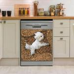 Maltese Wooden Sculpture Dishwasher Cover Sticker Kitchen Decor