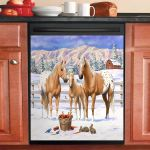 Palomino Appaloosa Horses In Snow Dishwasher Cover Sticker Kitchen Decor