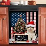 Merry Christmas Yorkshire Terrier Dishwasher Cover Sticker Kitchen Decor
