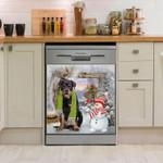 Rottweiler And Snowman Dishwasher Cover Sticker Kitchen Decor
