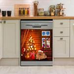 Pomeranian Christmas House Dishwasher Cover Sticker Kitchen Decor