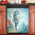Sea Horse Beach Dishwasher Cover Sticker Kitchen Decor
