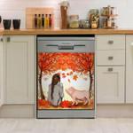 Pig And Girl Autumn Tree Dishwasher Cover Sticker Kitchen Decor