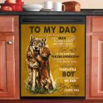 My Dad My Hero I Love You Wolf Dishwasher Cover Sticker Kitchen Decor