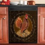 Rooster Golden Dishwasher Cover Sticker Kitchen Decor