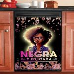 Negra Y Educada Beautiful Black Girl Dishwasher Cover Sticker Kitchen Decor