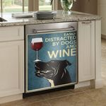 Pitbull Easily Distracted By Dogs And Wine Dishwasher Cover Sticker Kitchen Decor