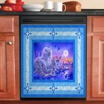 Moonlight Cute Animal Tiger Bear And Wolf Dishwasher Cover Sticker Kitchen Decor