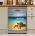 Seashells Beach View Dishwasher Cover Sticker Kitchen Decor