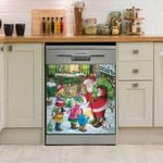 Santa Claus Distributing Gifts Dishwasher Cover Sticker Kitchen Decor