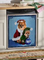 Pomeranian Little Santa Dishwasher Cover Sticker Kitchen Decor