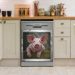 Pig In Frame Funny Pattern Dishwasher Cover Sticker Kitchen Decor
