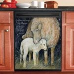 Sheep Mom And Baby Night Dishwasher Cover Sticker Kitchen Decor