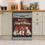 Pug Merry Christmas Dishwasher Cover Sticker Kitchen Decor