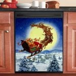 Santa Claus In This Town Dishwasher Cover Sticker Kitchen Decor