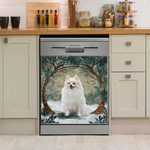 Pomeranian Winter And Circle Tree Dishwasher Cover Sticker Kitchen Decor