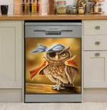Painting Owl Dishwasher Cover Sticker Kitchen Decor
