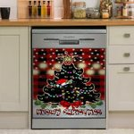 Meowy Christmas Black Cat Tree Dishwasher Cover Sticker Kitchen Decor