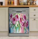 Peony Melody Dishwasher Cover Sticker Kitchen Decor