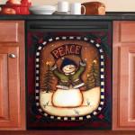 Peace Snowman Vintage Dishwasher Cover Sticker Kitchen Decor