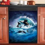 Orca Wave Dishwasher Cover Sticker Kitchen Decor