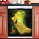 Peacock Lantern Light Garden Dishwasher Cover Sticker Kitchen Decor