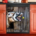 Naughty Horse And Dandelion Wooden Stable Dishwasher Cover Sticker Kitchen Decor