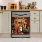 Pitbull Fireplace Merry Christmas Dishwasher Cover Sticker Kitchen Decor