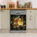 Modern Flowers multicolor Dishwasher Cover Sticker Kitchen Decor