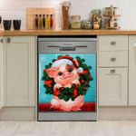 Pig Christmas Circle Pine Leaf Dishwasher Cover Sticker Kitchen Decor