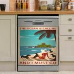 Retro Art Girl Ocean Calling Dachshund I Must Go Dishwasher Cover Sticker Kitchen Decor